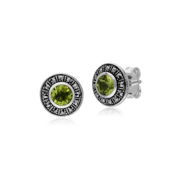 Art Deco Peridot & Marcasite Stud Earrings Image 1