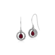 Classic Ruby & Marcasite Drop Earrings Image 1