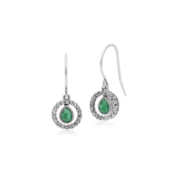 Classic Emerald & Marcasite Drop Earrings Image 1