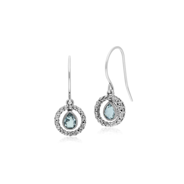 Classic Blue Topaz & Marcasite Drop Earrings Image 1