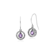 Classic Amethyst & Marcasite Drop Earrings Image 1