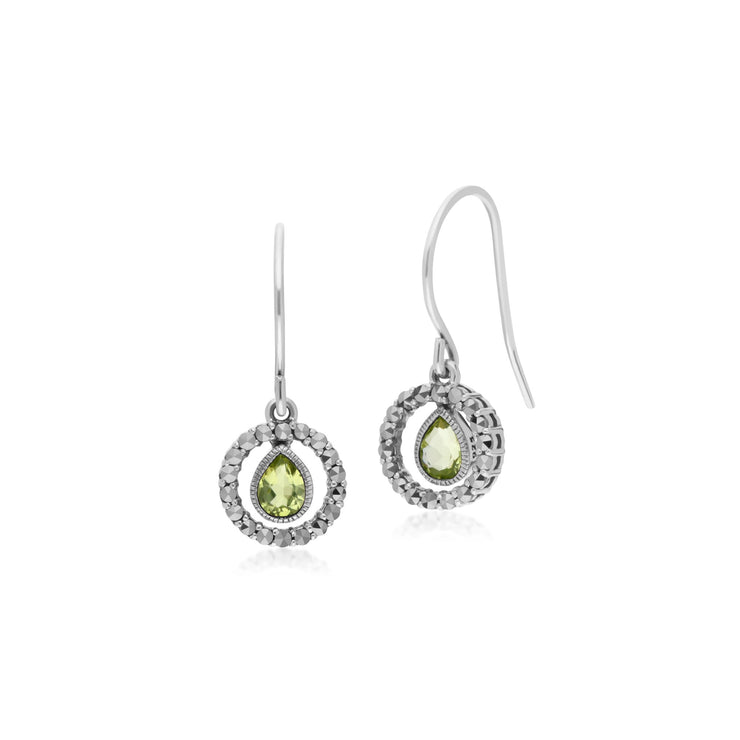 Classic Peridot & Marcasite Drop Earrings & Necklace Set Image 2