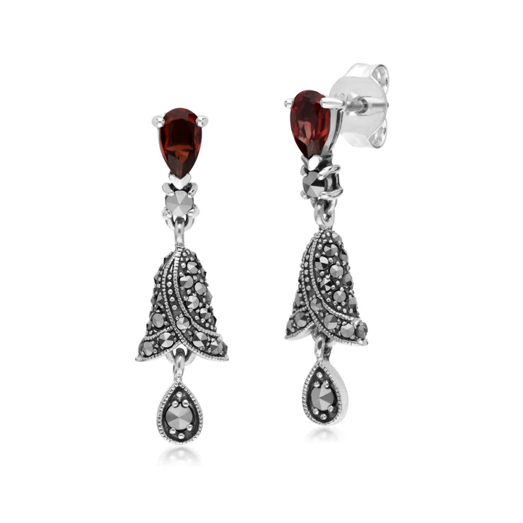Art Nouveau Garnet & Marcasite Drop Earrings Image 1