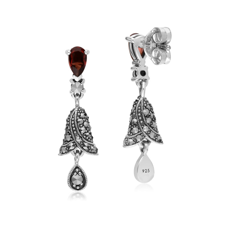 Art Nouveau Garnet & Marcasite Drop Earrings Image 2