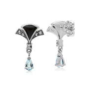 Art Nouveau Blue Topaz & Onyx Drop Earrings Image 2
