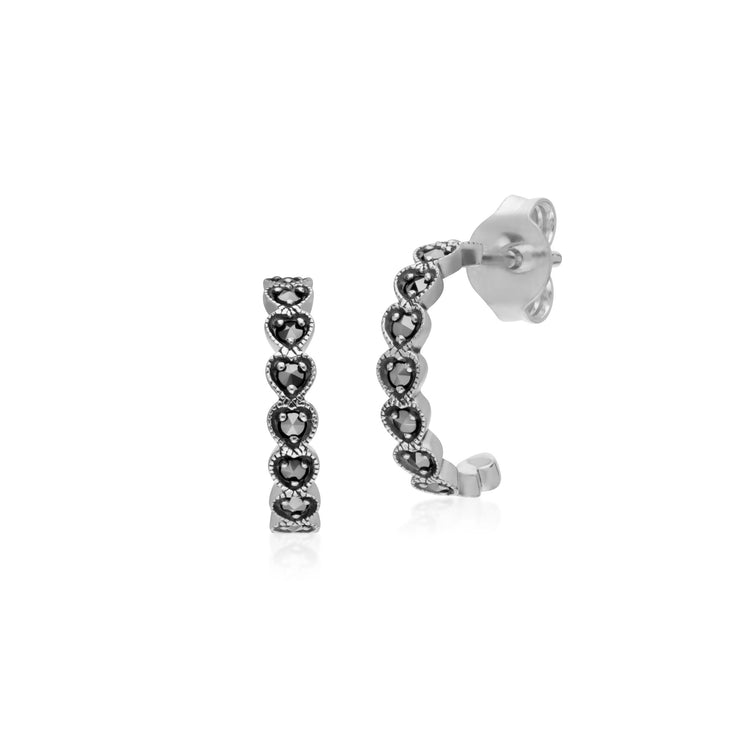 Geometric Heart Marcasite Half Hoop Earrings in 925 Sterling Silver
