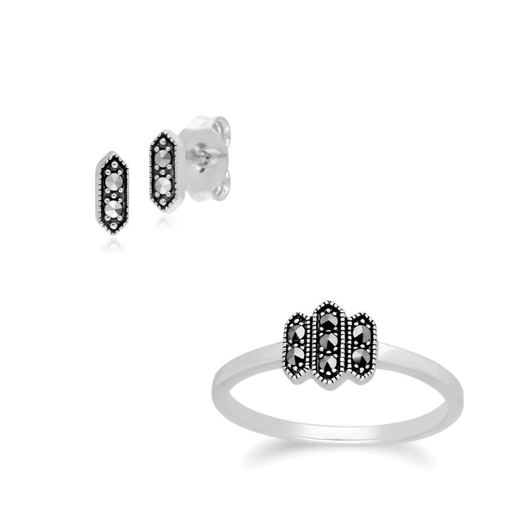 Modern Marcasite Hexagon Studs & Ring Set Image 1