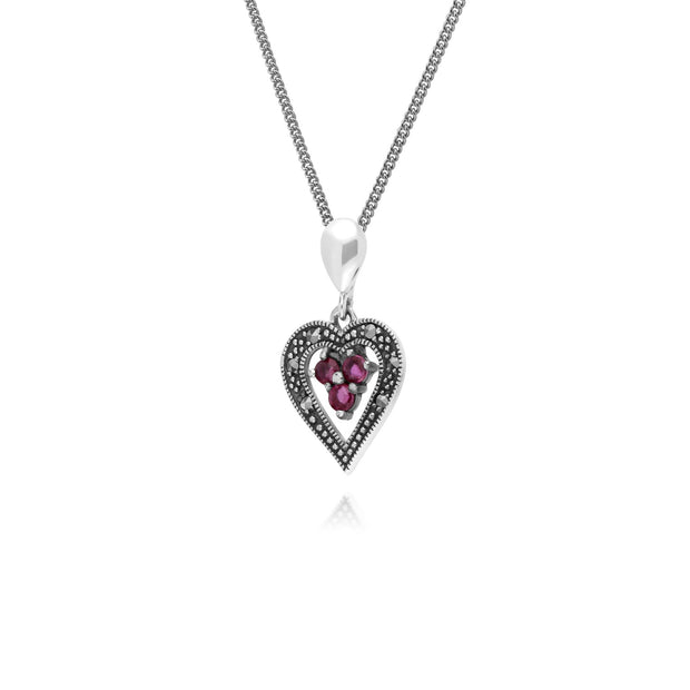 Vintage Inspired Ruby & Marcasite Pendant Necklace Image 2