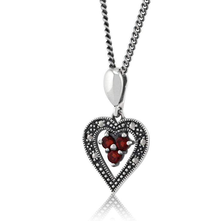 Art Deco Garnet & Marcasite Pendant on Chain Image 2