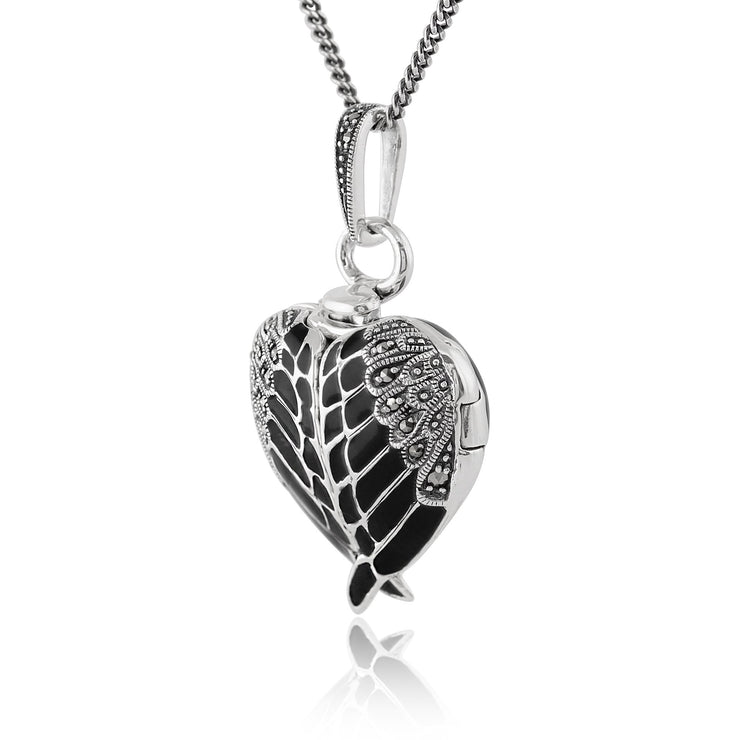Art Nouveau Marcasite & Black Enamel Angel Wing Heart Locket on Chain Image 2