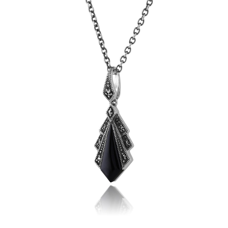Art Deco Black Onyx & Marcasite Pendant on Chain Image 2
