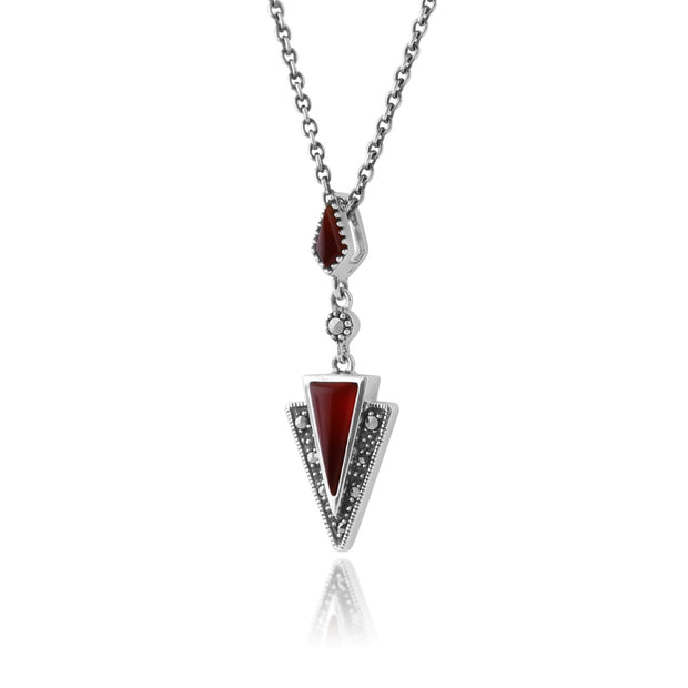 Art Deco Carnelian & Marcasite Pendant on Chain Image 2