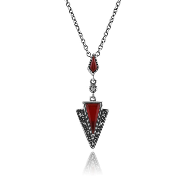 Art Deco Carnelian & Marcasite Pendant on Chain Image 1