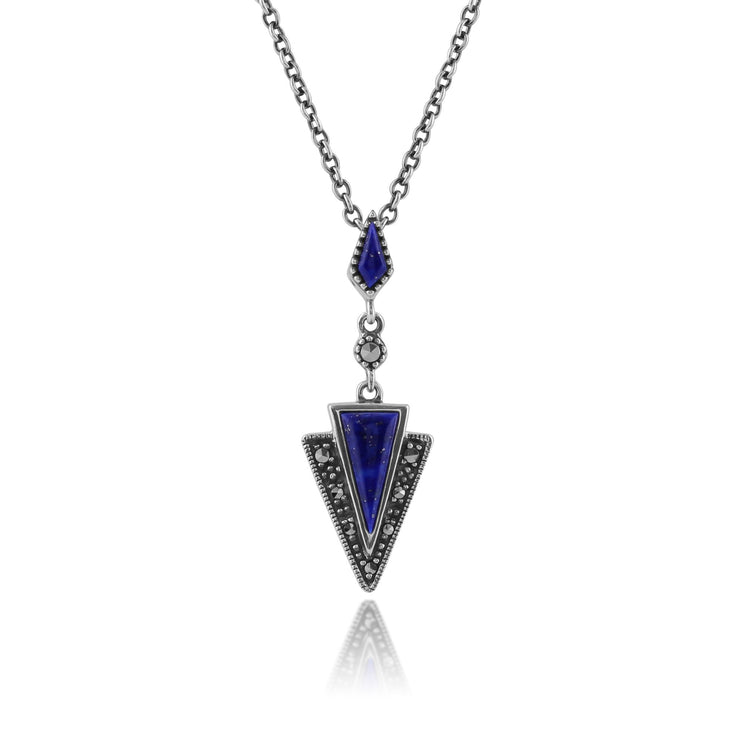 Art Deco Lapis Lazuli & Marcasite Triangle Drop Earrings & Pendant Set Image 4