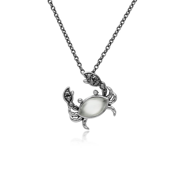 Classic Marquise Moonstone & Marcasite Crab Necklace in 925 Sterling Silver