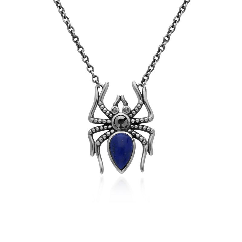 Classic Pear Lapis Lazuli & Marcasite Spider Necklace in 925 Sterling Silver
