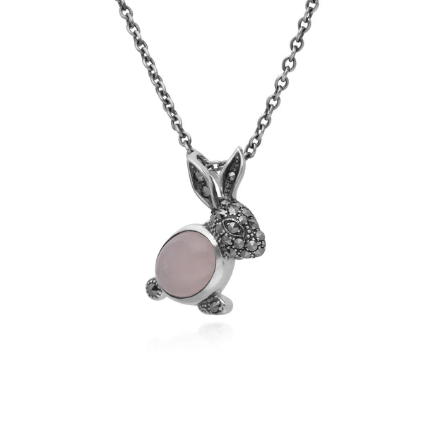 Animal Rose Quartz & Marcasite Rabbit Necklace Image 2