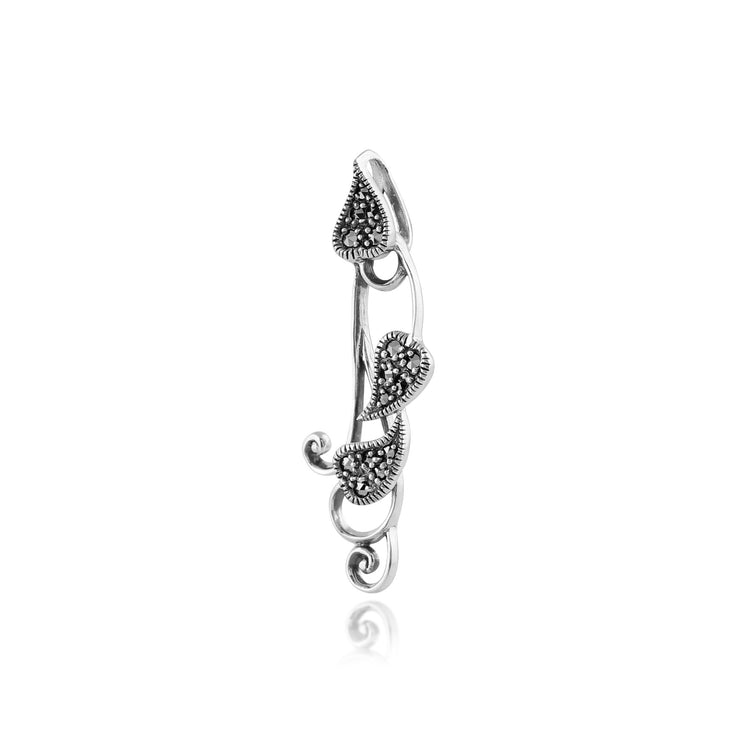 Art Nouveau Marcasite Leaf Pendant on Chain Image 2