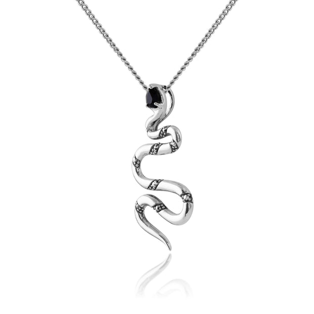 Art Deco Black Spinel & Marcasite Snake Necklace Image 2