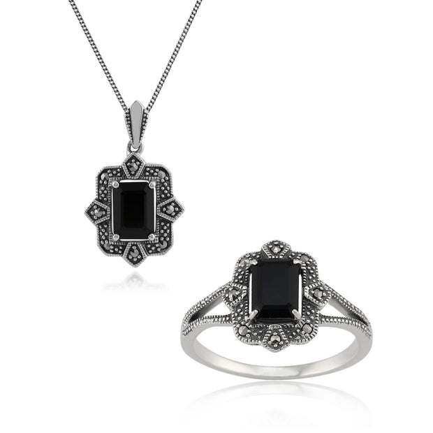 Art Deco Black Spinel & Marcasite Framed Drop Earrings & Ring Set Image 1