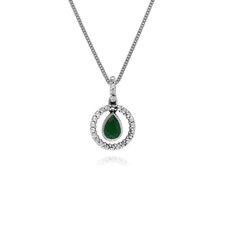 Classic Emerald & Marcasite Halo Necklace Image 1