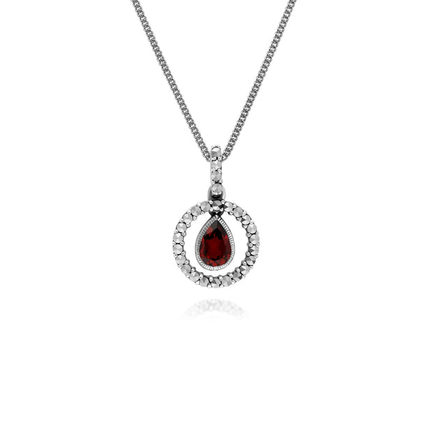 Classic Garnet & Marcasite Halo Necklace Image 1