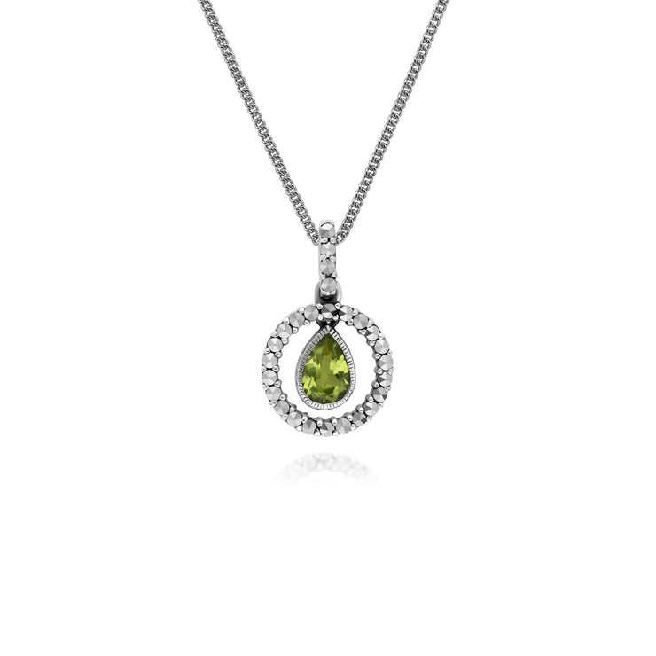 Classic Peridot & Marcasite Drop Earrings & Necklace Set Image 3
