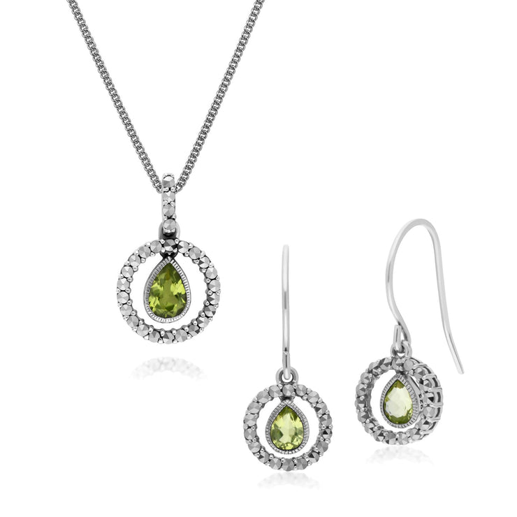 Classic Peridot & Marcasite Drop Earrings & Necklace Set Image 1