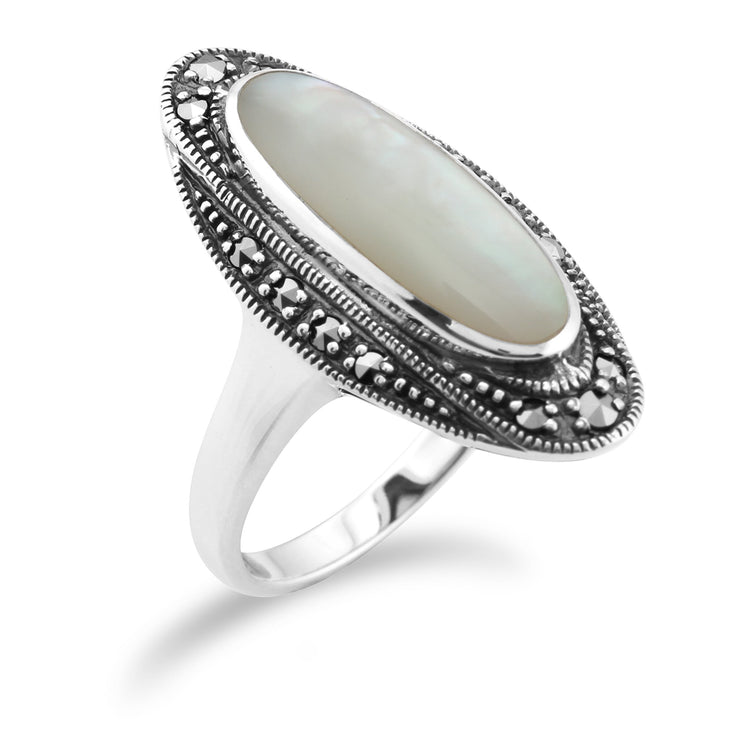 Art Deco Style Mother of Pearl & Marcasite Ring