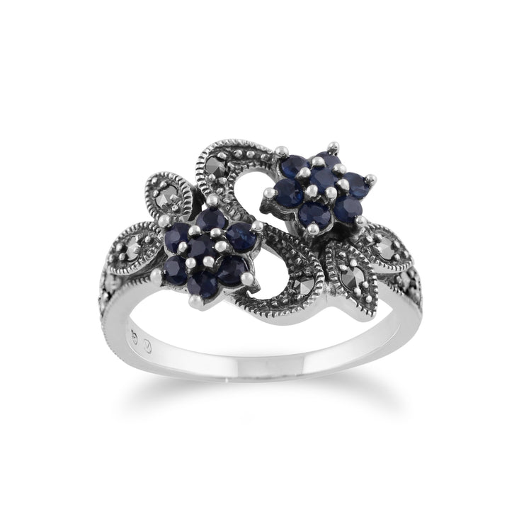 Sapphire & Marcasite Flower Ring Image 1