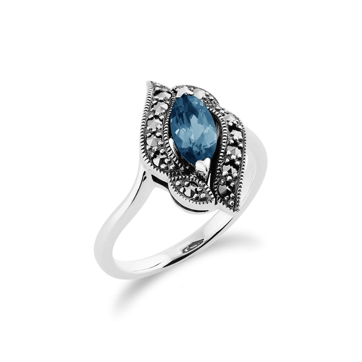 Blue Topaz & Marcasite Ring Image 2