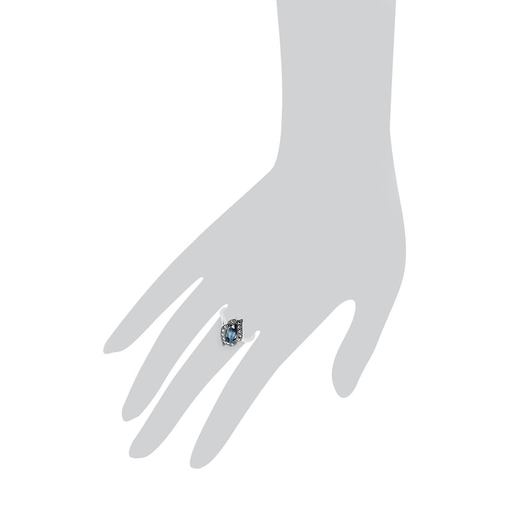 Blue Topaz & Marcasite Ring Image 3