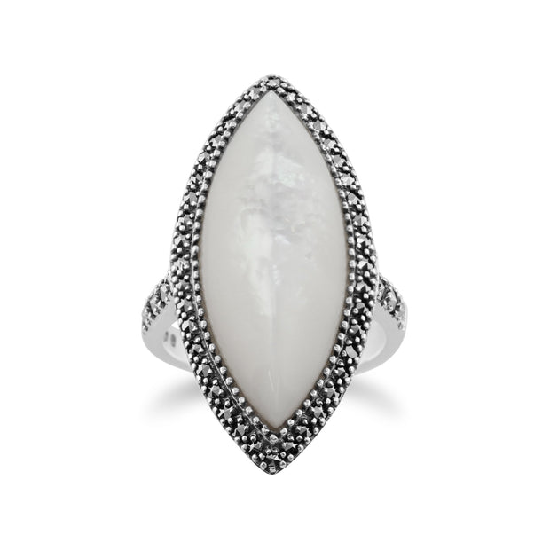 Art Deco Style Mother of Pearl Statement Ring Image 1
