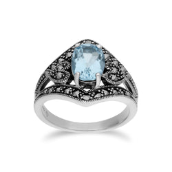 Art Deco Style Blue Topaz & Marcasite Ring Image 1