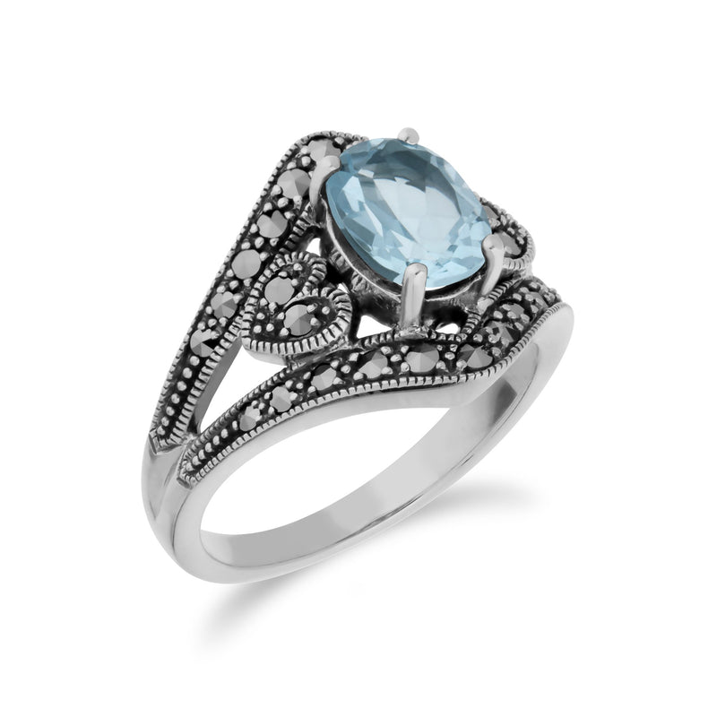 Art Deco Style Blue Topaz & Marcasite Ring Image 2