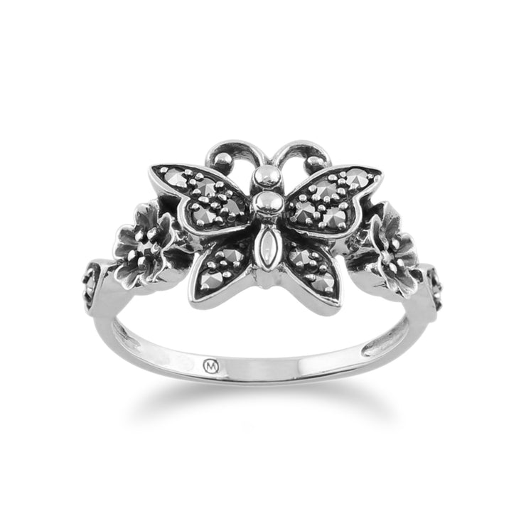 Art Nouveau Style Marcasite Butterfly Ring Image 1