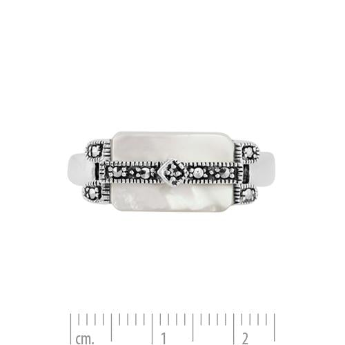 Art Deco Style Mother of Pearl Marcasite Bar Ring Image 3