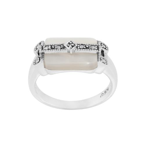 Art Deco Style Mother of Pearl Marcasite Bar Ring Image 1