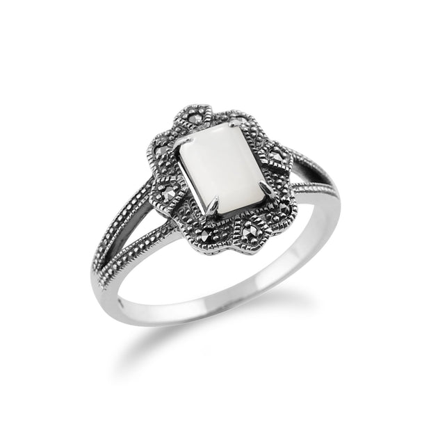 Art Deco Style Mother of Pearl & Marcasite  Ring Image 2