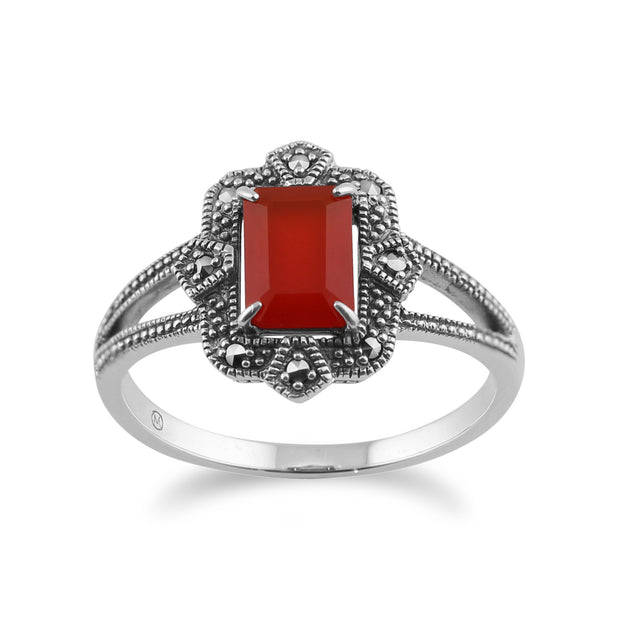 Art Deco Style Carnelian & Marcasite  Ring Image 1