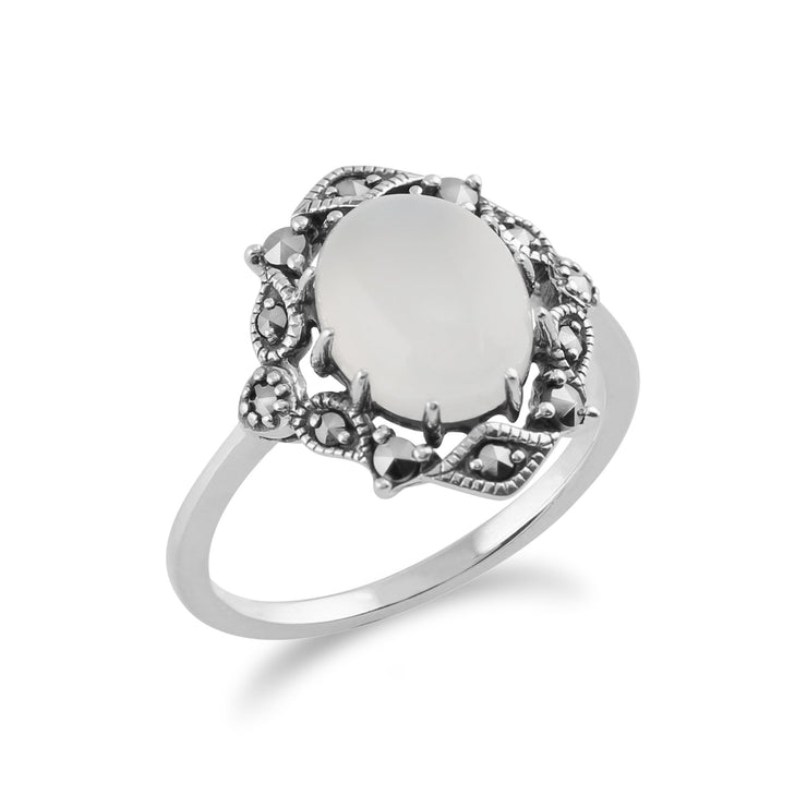Art Nouveau Style Moonstone Statement Ring Image 2