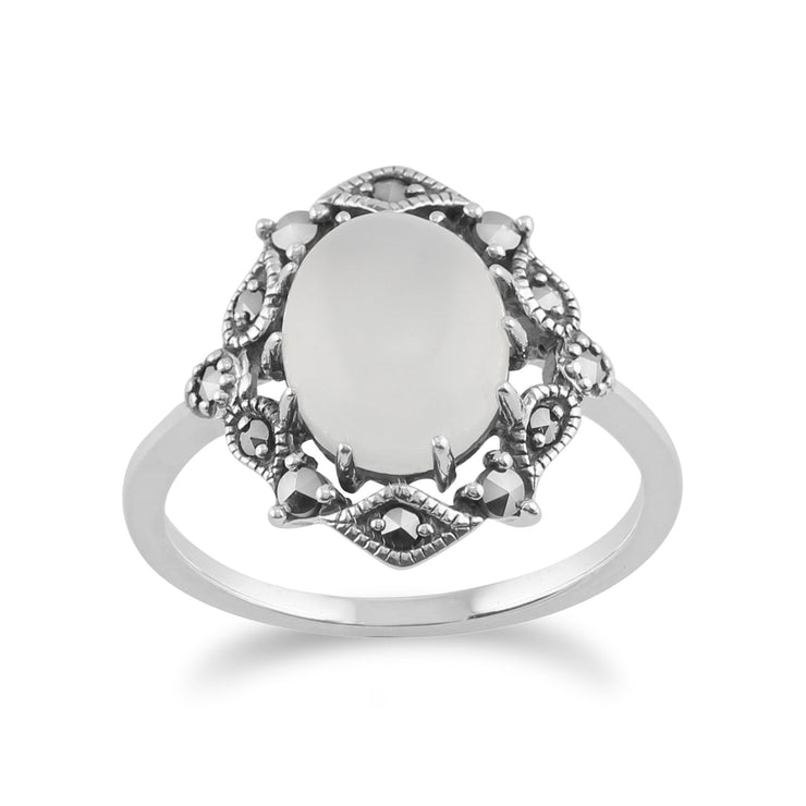 Art Nouveau Style Moonstone Statement Ring Image 1