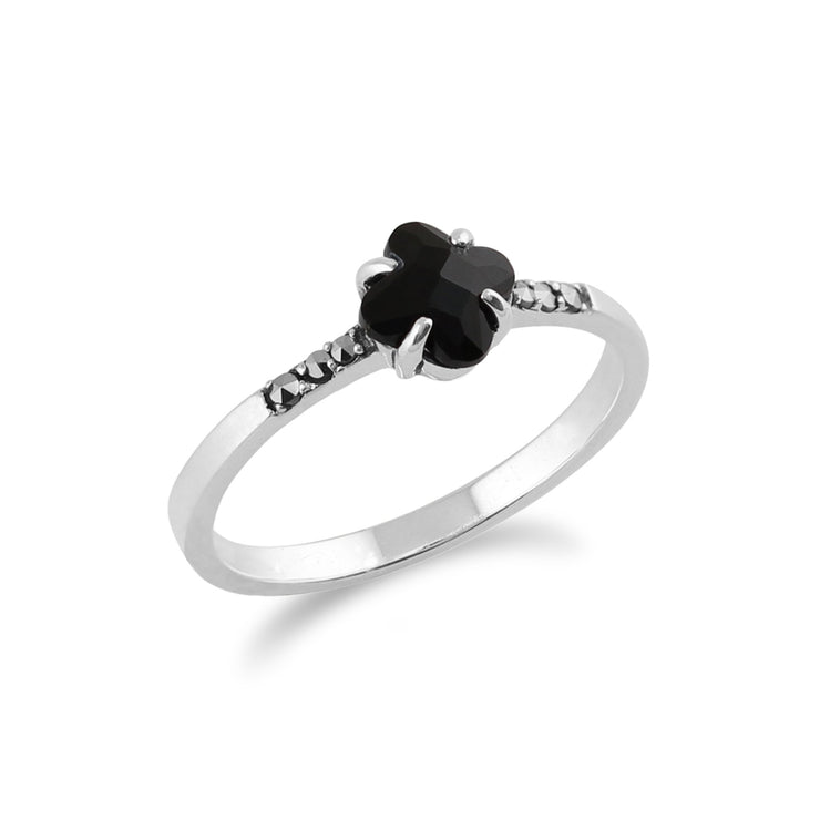 Floral Black Onyx Ring Image 2