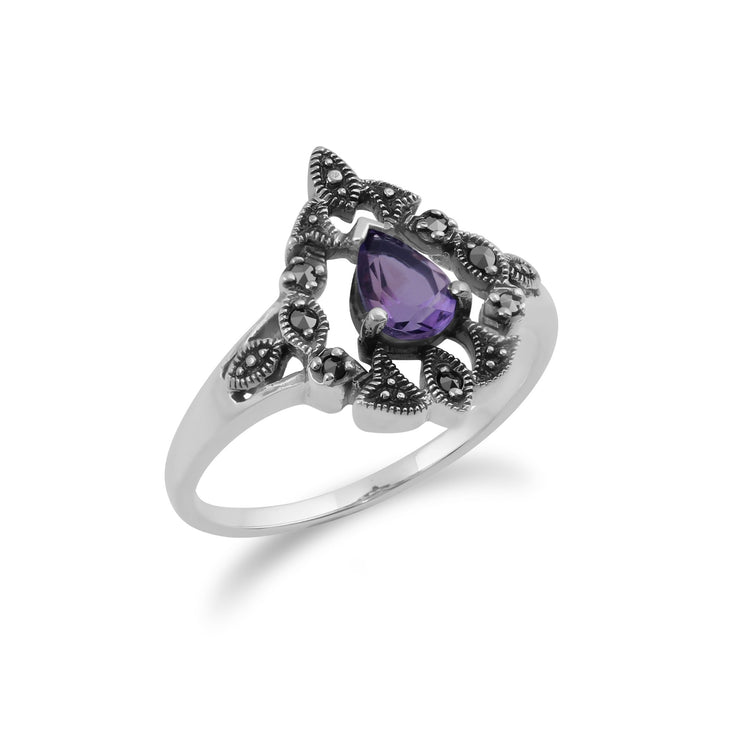 Art Nouveau Style Amethyst  Ring Image 2