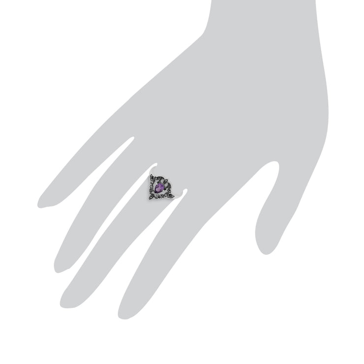 Art Nouveau Style Amethyst  Ring Image 3