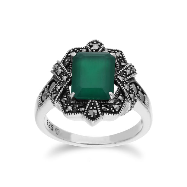 Art Deco Style Green Chalcedony  Ring Image 1