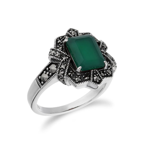 Art Deco Style Green Chalcedony  Ring Image 2