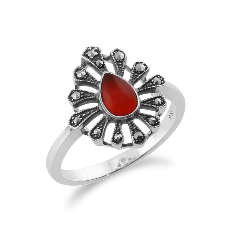 Gemondo 925 Sterling Silver 0.30ct Carnelian & Marcasite Art Deco Ring Image 2