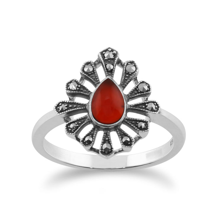 Gemondo 925 Sterling Silver 0.30ct Carnelian & Marcasite Art Deco Ring Image 1