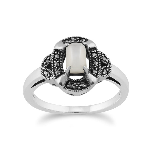 Gemondo 925 Sterling Silver 0.50ct Mother of Pearl & Marcasite Art Deco Ring Image 1